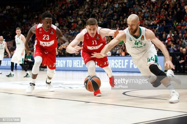Antanas Kavaliauskas fight for a ball during a game of Turkish Airlines EuroLeague basketball between AX Armani Exchange Milan vs Zalgiris Kaunas at...