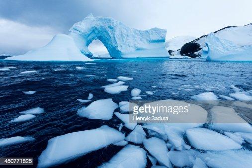 Antarctica, Antarctic Peninsula, Ice floe floating on water