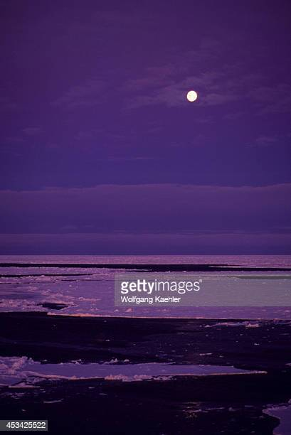 Antarctica Weddell Sea Pack Ice With Full Moon