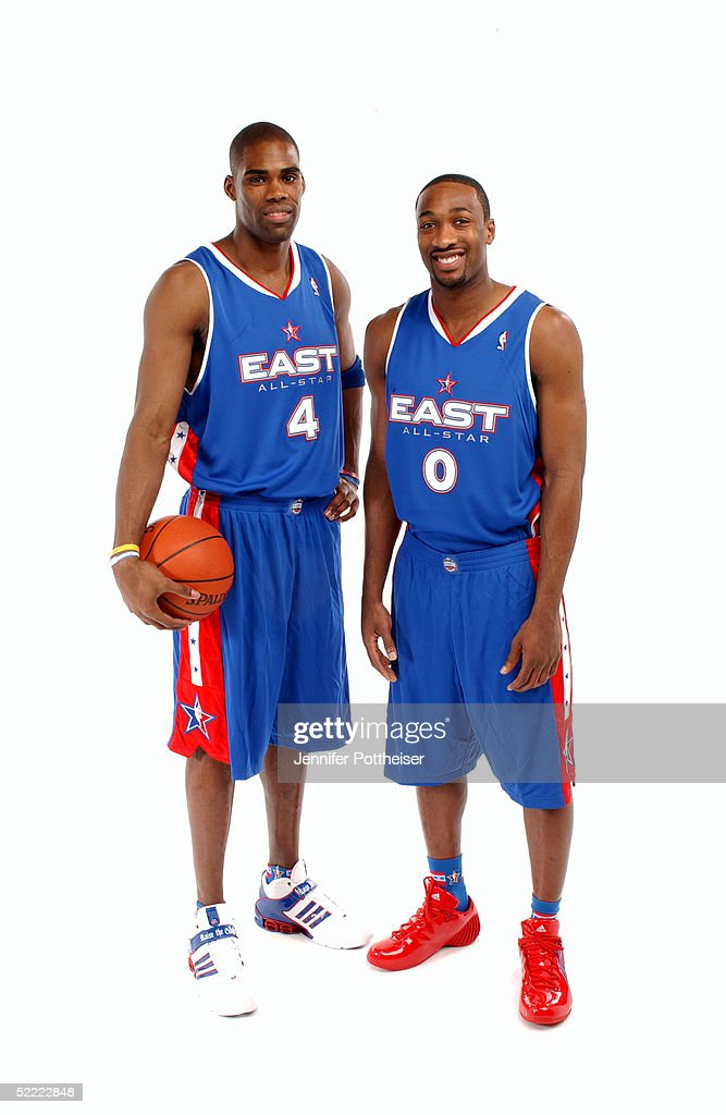 Antawn Jamison #4 and Gilbert Arenas #0 of the Eastern Conference All-Stars poses for a portrait prior to the 2005 NBA All-Star Game at The Pepsi Center on February 20, 2005 in Denver, Colorado.