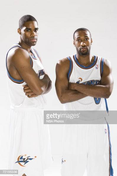 Antawn Jamison and Gilbert Arenas of the Washington Wizards pose for a portrait during NBA Media Day at the Verizon Center October 2 2006 in...