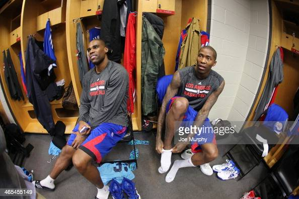 Antawn Jamison and Jamal Crawford of the Los Angeles Clippers gets ready before the game against the Chicago Bulls on January 24 2014 at the United...