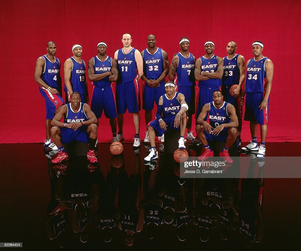 Antawn Jamison #4, Dwyane Wade #3, Vince Carter #15, Ben Wallace #3, Zydrunas Ilgauskas#11, Shaquille O'Neal, Allen Iverson #3, Jermaine O'Neal, LeBron James #23, Gilbert Arenas #0, Grant Hill #33 and Paul Pierce #34 of the Eastern Conference All-Stars pose for a portrait prior to the 2005 NBA All-Star Game at The Pepsi Center on February 20, 2005 in Denver, Colorado.