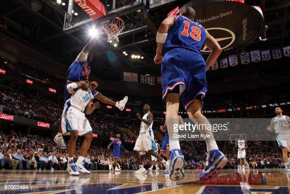 Antawn Jamison of the Cleveland Cavaliers dunks the ball over David West of the New Orleans Hornets on February 23 2010 at The Quicken Loans Arena in...
