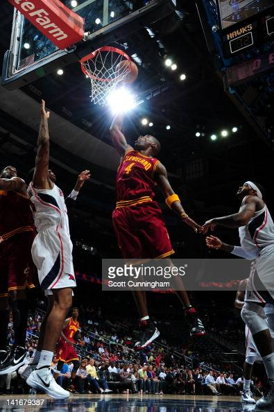 Antawn Jamison of the Cleveland Cavaliers goes to the basket during the game between the Atlanta Hawks and the Cleveland Cavaliers on March 21 2012...