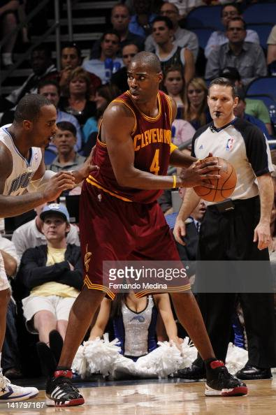 Antawn Jamison of the Cleveland Cavaliers posts up against Glen Davis of the Orlando Magic on March 23 2012 at Amway Center in Orlando Florida NOTE...