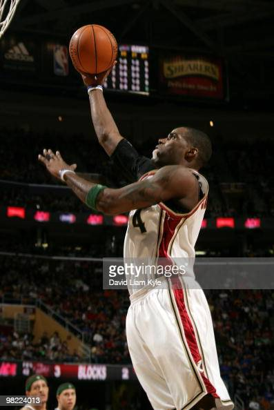 Antawn Jamison of the Cleveland Cavaliers puts up the shot against the Atlanta Hawks on April 2 2010 at The Quicken Loans Arena in Cleveland Ohio...