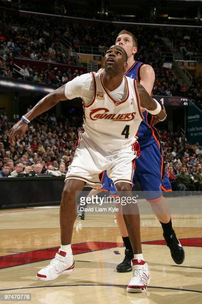 Antawn Jamison of the Cleveland Cavaliers rebounds against David Lee of the New York Knicks during the game at Quicken Loans Arena on March 1 2010 in...