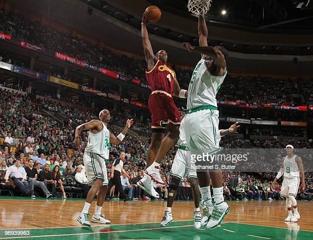 Antawn Jamison of the Cleveland Cavaliers shoots against Kendrick Perkins of the Boston Celtics in Game Four of the Eastern Conference Semifinals...
