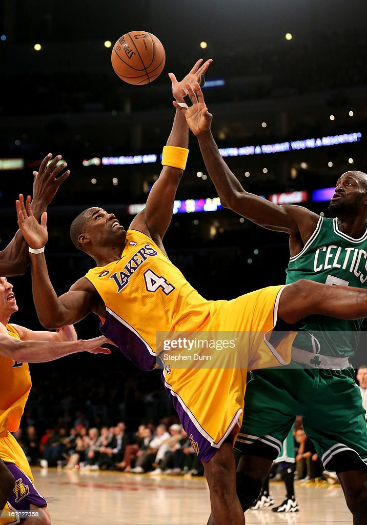 Antawn Jamison #4 of the Los Angeles Lakers fights for a rebound against Kevin Garnett #5 of the Boston Celtics at Staples Center on February 20, 2013 in Los Angeles, California. The Lakers won 113-99.