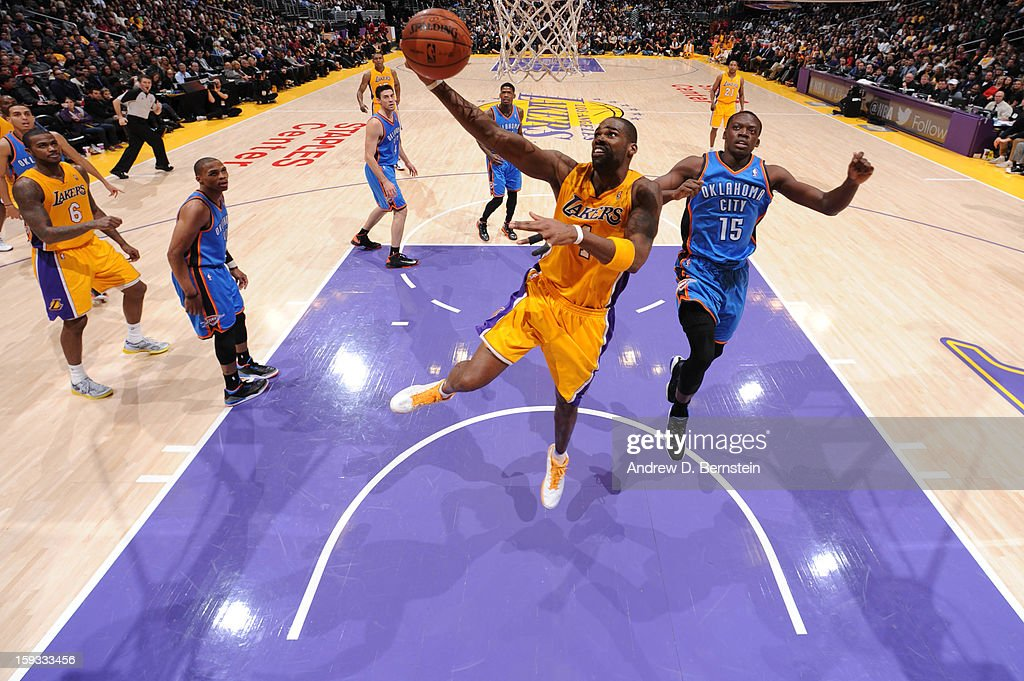 Antawn Jamison #4 of the Los Angeles Lakers puts up a shot against the Oklahoma City Thunder at Staples Center on January 11, 2013 in Los Angeles, California.