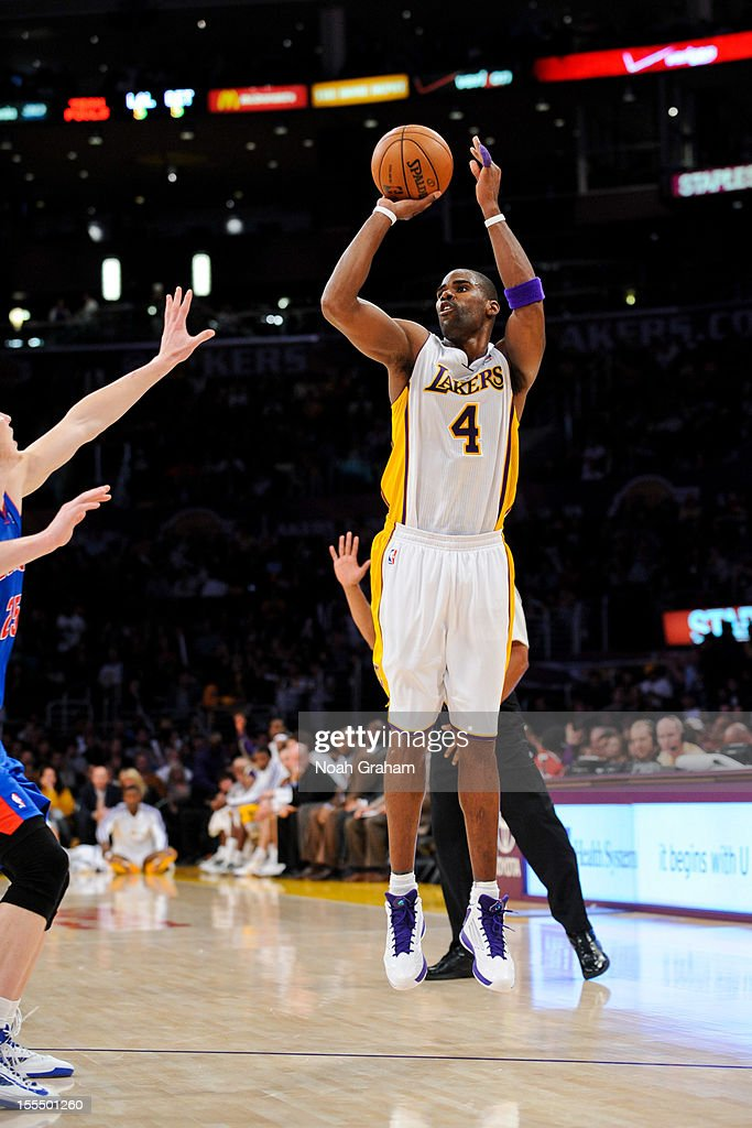 <a gi-track='captionPersonalityLinkClicked' href=/galleries/search?phrase=Antawn+Jamison&family=editorial&specificpeople=201670 ng-click='$event.stopPropagation()'>Antawn Jamison</a> #4 of the Los Angeles Lakers shoots a three-pointer against the Detroit Pistons at Staples Center on November 4, 2012 in Los Angeles, California.