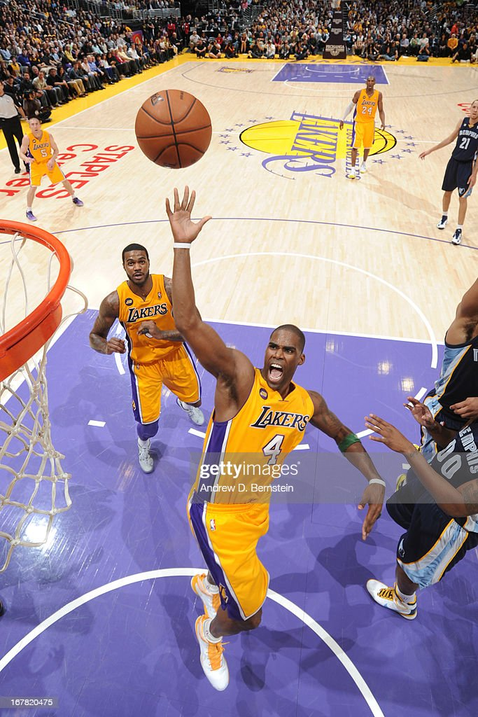 <a gi-track='captionPersonalityLinkClicked' href=/galleries/search?phrase=Antawn+Jamison&family=editorial&specificpeople=201670 ng-click='$event.stopPropagation()'>Antawn Jamison</a> #4 of the Los Angeles Lakers shoots against the Memphis Grizzlies at Staples Center on April 5, 2013 in Los Angeles, California.