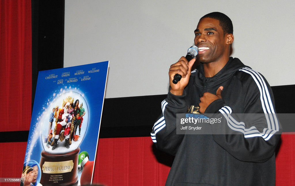<a gi-track='captionPersonalityLinkClicked' href=/galleries/search?phrase=Antawn+Jamison&family=editorial&specificpeople=201670 ng-click='$event.stopPropagation()'>Antawn Jamison</a> of the Washington Wizards speaking prior to the screening of the movie, A Perfect Holiday at Regal Gallery Place December 4, 2007 in Washington, DC.