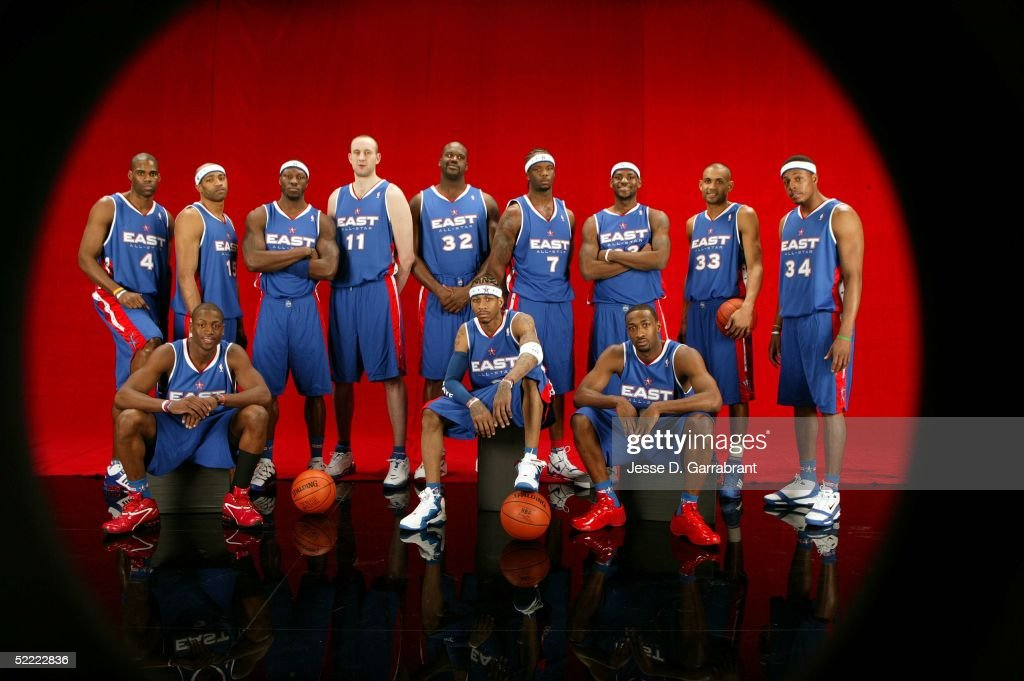 Antawn Jamison #4, Vince Carter #15, Ben Wallace #3, Zydrunal Illgauskas #11, Shaquille O'Neal #32, Jermaine O'Neal #7, Lebron James #23, Grant Hill #33, Paul Pierce #34, Dwyane Wade #3, Allen Iverson #3 and Gilbert Arenas #0 of the Eastern Conference All-Stars pose for a portrait prior to the 2005 NBA All-Star Game on February 20, 2005 at the Pepsi Center in Denver, Colorado.