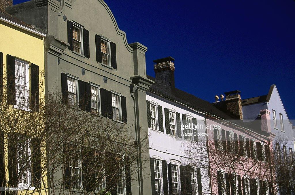 Ante bellum houses rainbow row charleston stock photo for Charleston row houses
