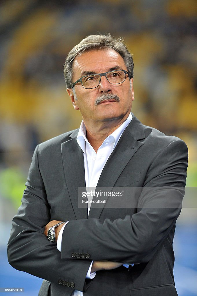 Ante Cacic, coach GNK Dinamo Zagreb looks on during the UEFA Champions League group stage match between FC Dynamo Kyiv and GNK Dinamo Zagreb at the Olimpiyskiy National Sports Complex on October 3, 2012 in Kiev, Ukraine.