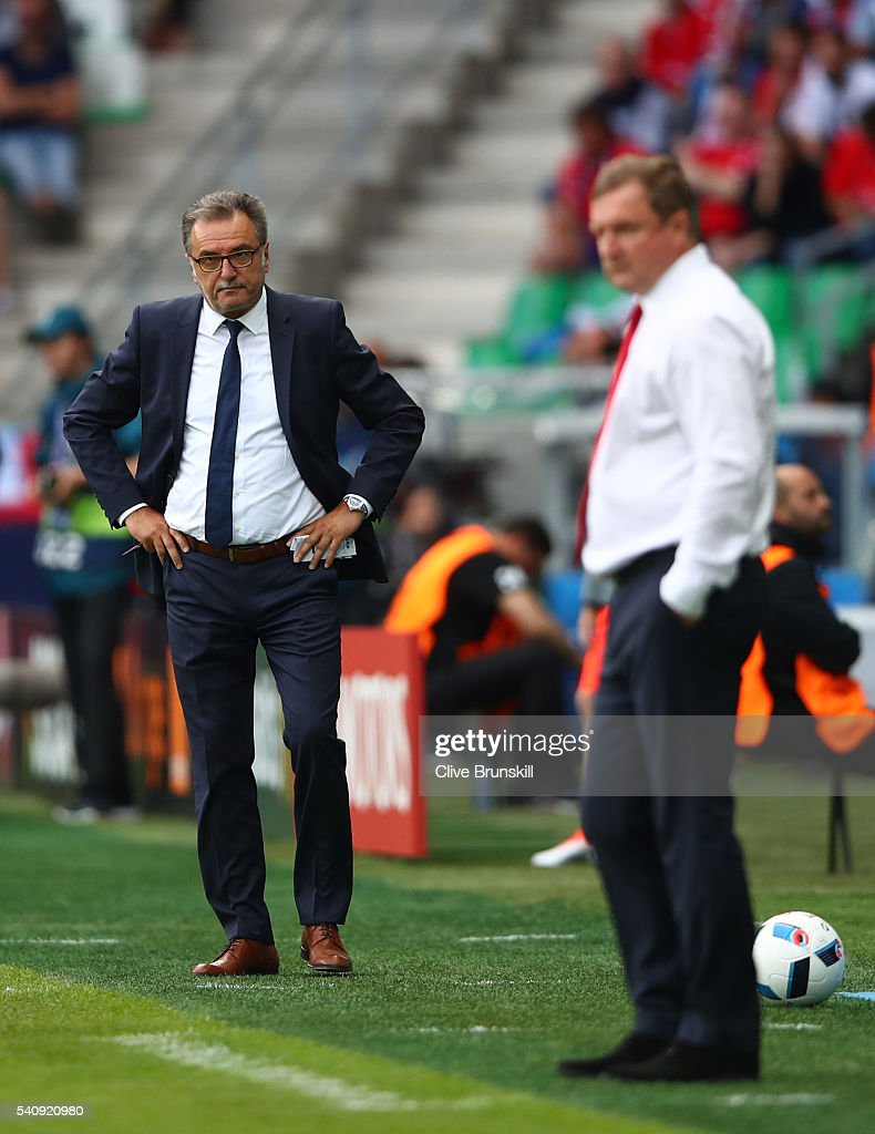 Ante Cacic head coach of Croatia and Pavel Vrba head coach of Czech Republic look on from the touchline during the UEFA EURO 2016 Group D match between Czech Republic and Croatia at Stade Geoffroy-Guichard on June 17, 2016 in Saint-Etienne, France.