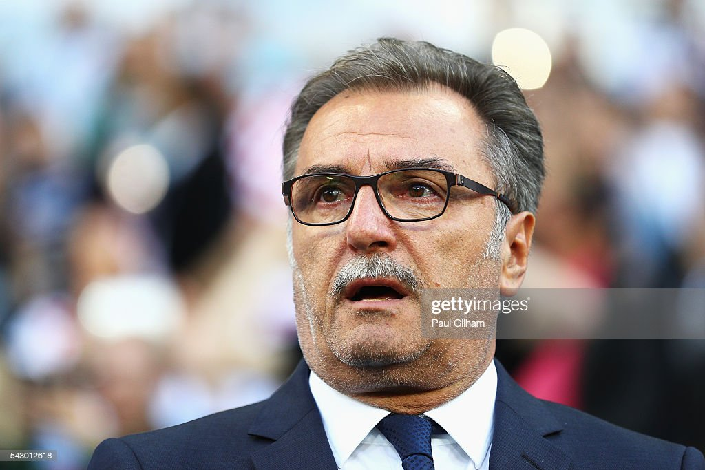 Ante Cacic head coach of Croatia looks on prior to the UEFA EURO 2016 round of 16 match between Croatia and Portugal at Stade Bollaert-Delelis on June 25, 2016 in Lens, France.