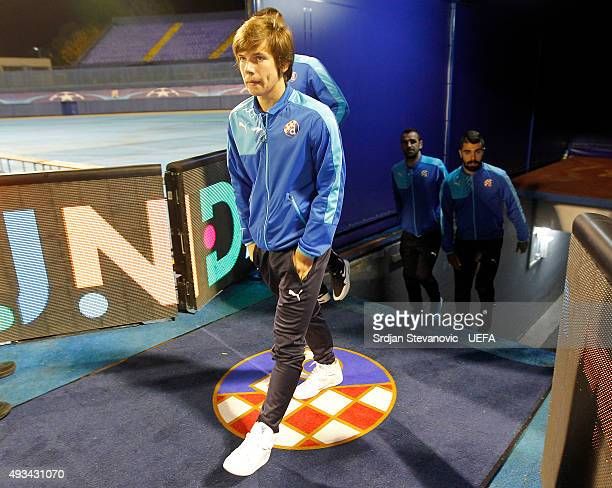 Ante Coric of Dinamo Zagreb walks onto the pitch prior to the UEFA Champions League Group F match between Dinamo Zagreb and Olympiacos FC at Maksimir...