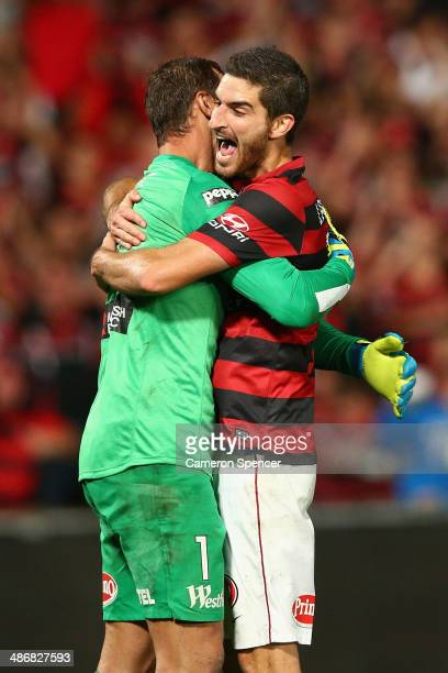 Ante Covic and Iacopo La Rocca of the Wanderers celebrate winning the ALeague Semi Final match between the Western Sydney Wanderers and the Central...