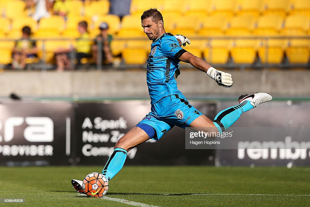 Ante Covic of the Glory kicks during the round 18 A-League match between Wellington Phoenix and Perth Glory at Westpac Stadium on February 7, 2016 in Wellington, New Zealand.