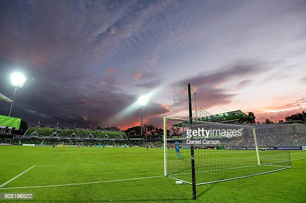 Ante Covic of the Perth Glory stands guard of his goals as the sun sets during the round 15 ALeague match between Perth Glory and Melbourne City FC...