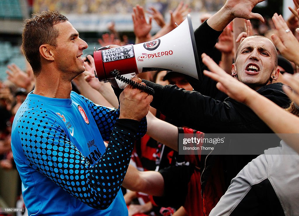 Ante Covic of the Wanderers celebrates with fans at full time during the round ten A-League match between the Western Sydney Wanderers and the Brisbane Roar at Parramatta Stadium on December 9, 2012 in Sydney, Australia.