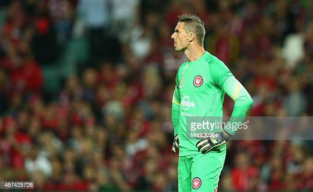 Ante Covic of the Wanderers looks dejected after a goal during the round two ALeague match between Sydney FC and the Western Sydney Wanderers at...
