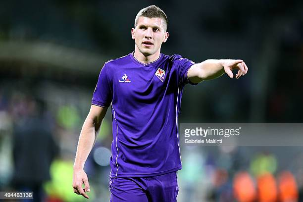 Ante Rebic of ACF Fiorentina gestures during the UEFA Europa League group I match between ACF Fiorentina and KKS Lech Poznan on October 22 2015 in...