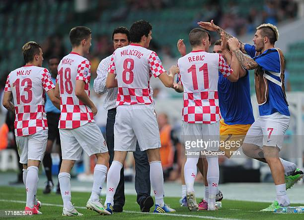 Ante Rebic of Croatia celebrates his goal during the FIFA U20 World Cup Group F match between Croatia and New Zealand at the Ataturk Stadium on June...