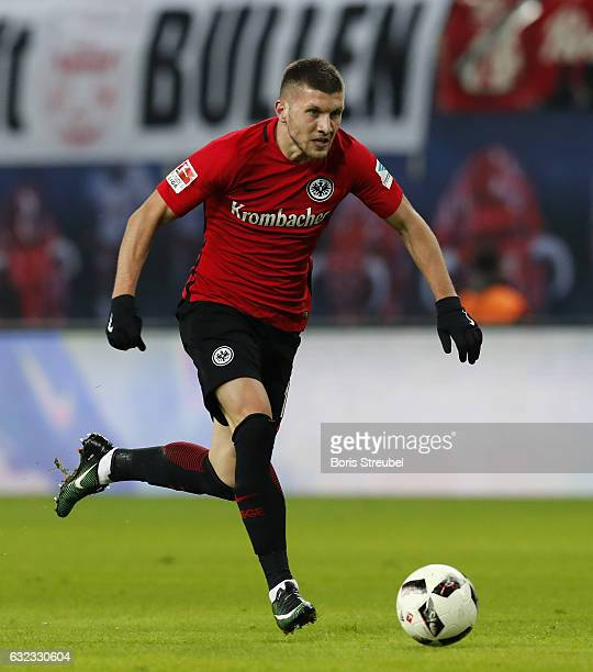 Ante Rebic of Eintracht Frankfurt runs with the ball during the Bundesliga match between RB Leipzig and Eintracht Frankfurt at Red Bull Arena on...