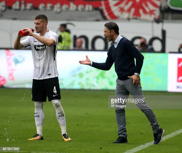 Ante Rebic of Frankfurt and Head Coach Niko Kovac of Frankfurt gestures during the Bundesliga match between Eintracht Frankfurt and VfB Stuttgart at...