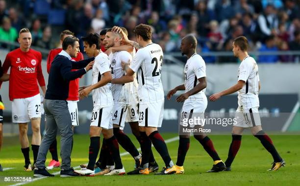 Ante Rebic of Frankfurt celebrate with his team mates after scoring the2nd goal during the Bundesliga match between Hannover 96 and Eintracht...