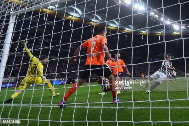 Ante Rebic of Frankfurt scores his team's second goal during the Bundesliga match between Eintracht Frankfurt and SV Darmstadt 98 at CommerzbankArena...