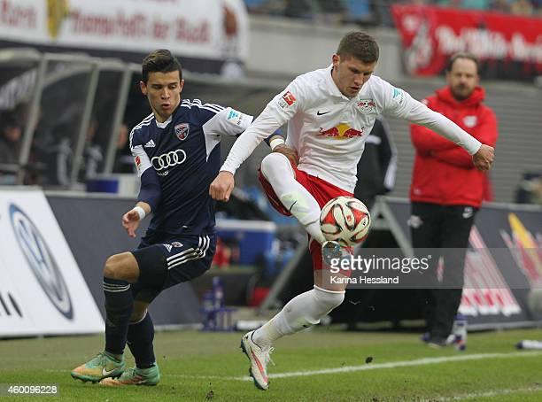 Ante Rebic of Leipzig challenges Alfredo Morales of Ingolstadt during the Second Bundesliga match between RasenBallsport Leipzig and FC Ingolstadt 04...