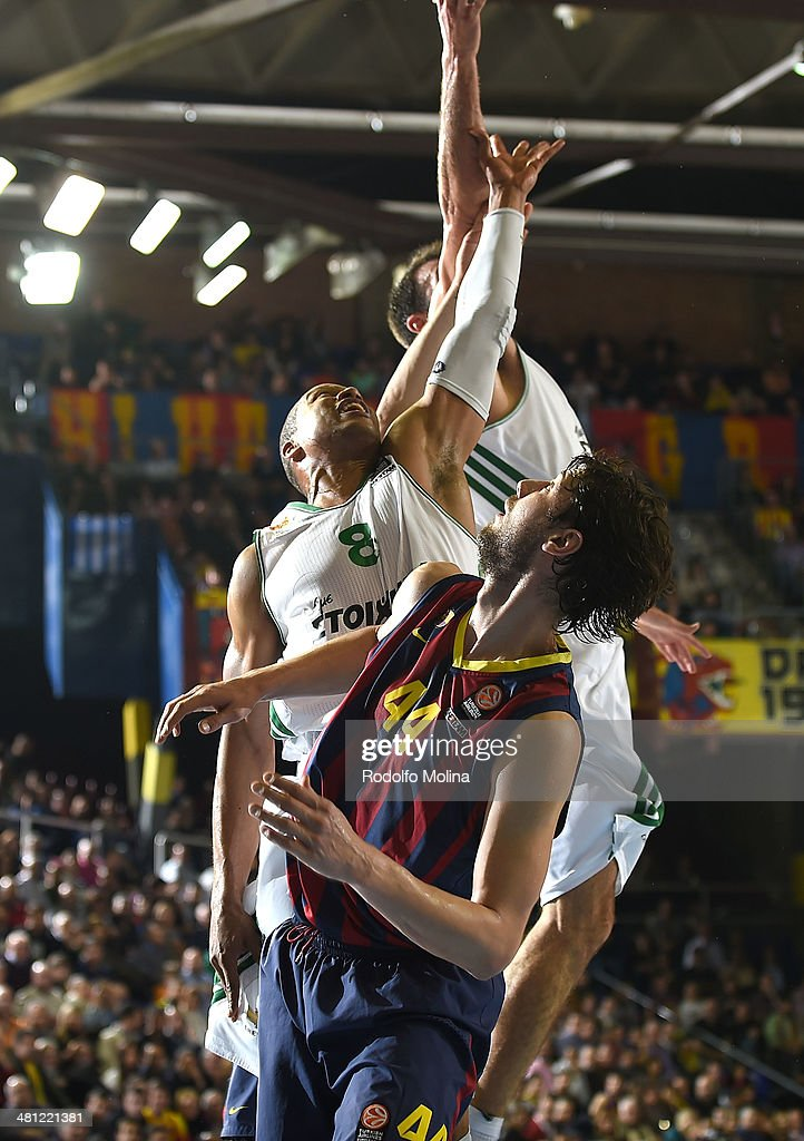 Ante Tomic #44 of FC Barcelona competes with Mike Batiste #8 of Panathinaikos Athens during the 20132014 Turkish Airlines Euroleague Top 16 Date 12...