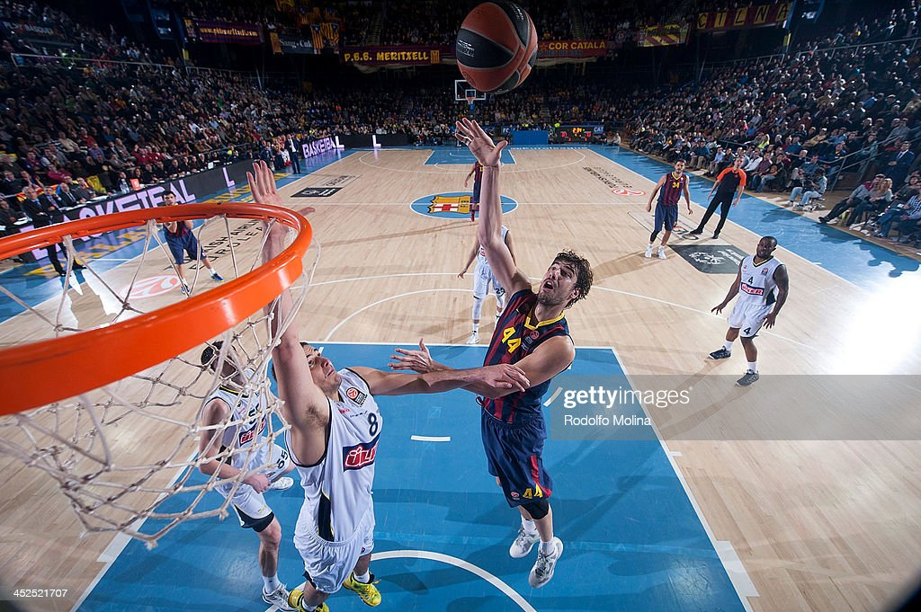 Ante Tomic #44 of FC Barcelona in action during the 20132014 Turkish Airlines Euroleague Regular Season Date 7 game between FC Barcelona Regal v...
