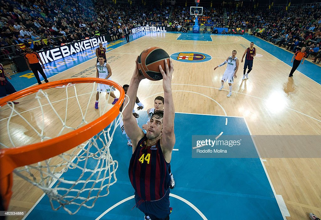 Ante Tomic, #44 of FC Barcelona in action during the Euroleague Basketball Top 16 Date 5 game between FC Barcelona v Zalgiris Kaunas at Palau Blaugrana on January 30, 2015 in Barcelona, Spain.