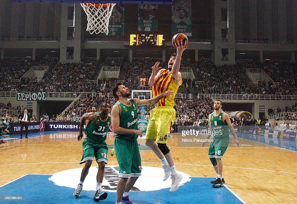 Ante Tomic, #44 of FC Barcelona in action during the Turkish Airlines Euroleague Basketball Top 16 Date 9 game between Panathinaikos Athens v FC Barcelona at Olympic Sports Center Athens on March 5, 2015 in Athens, Greece.