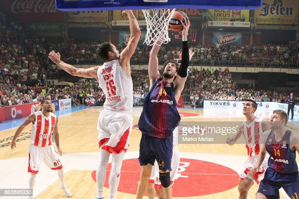 Ante Tomic #44 of FC Barcelona Lassa competes with Stefan Jankovic #16 of Crvena Zvezda mts Belgrade during the 2017/2018 Turkish Airlines EuroLeague...
