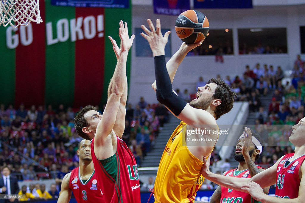 Ante Tomic, #44 of FC Barcelona Lassa competes with Victor Claver, #9 of Lokomotiv Kuban Krasnodar during the 2015-2016 Turkish Airlines Euroleague Basketball Playoffs Game 5 between Lokomotiv Kuban Krasnodar v FC Barcelona Lassa at Basket Hall on April 26, 2016 in Krasnodar, Russia.
