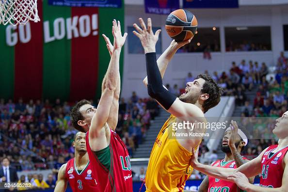 Ante Tomic #44 of FC Barcelona Lassa competes with Victor Claver #9 of Lokomotiv Kuban Krasnodar during the 20152016 Turkish Airlines Euroleague...