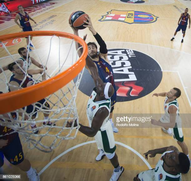 Ante Tomic #44 of FC Barcelona Lassa in action during the 2017/2018 Turkish Airlines EuroLeague Regular Season Round 1 game between FC Barcelona...