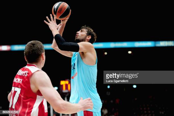 Ante Tomic #44 of FC Barcelona Lassa in action during the 2017/2018 Turkish Airlines EuroLeague Regular Season Round 4 game between AX Armani...