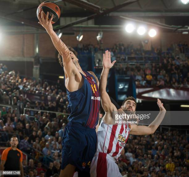 Ante Tomic #44 of FC Barcelona Lassa in action during the 2017/2018 Turkish Airlines EuroLeague Regular Season Round 5 game between FC Barcelona...