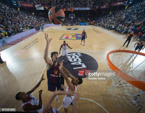 Ante Tomic #44 of FC Barcelona Lassa in action during the 2017/2018 Turkish Airlines EuroLeague Regular Season Round 6 game between FC Barcelona...