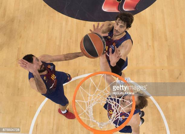 Ante Tomic #44 of FC Barcelona Lassa in action during the 2017/2018 Turkish Airlines EuroLeague Regular Season Round 8 game between FC Barcelona...
