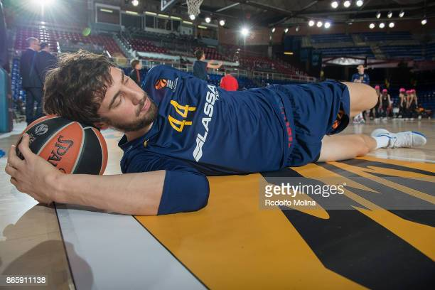 Ante Tomic #44 of FC Barcelona Lassa stretching prior the 2017/2018 Turkish Airlines EuroLeague Regular Season Round 3 game between FC Barcelona...