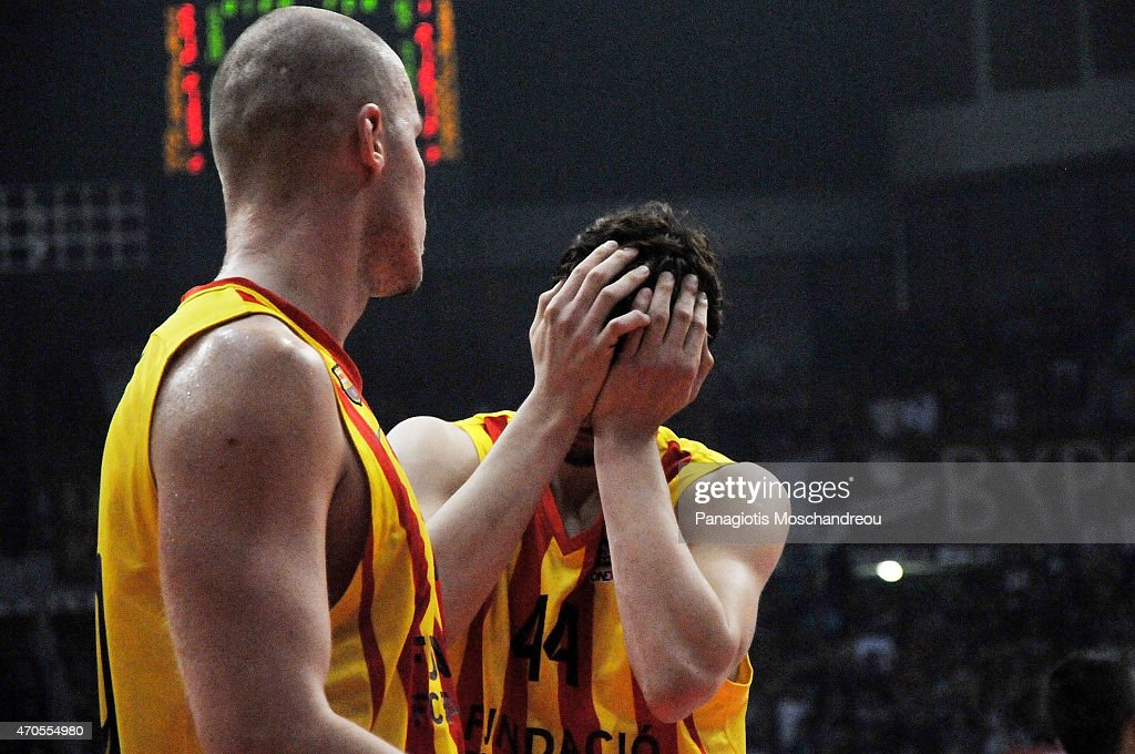 Ante Tomic, #44 of FC Barcelona reacts during the 2014-2015 Turkish Airlines Euroleague Basketball Play Off Game 3 between Olympiacos Piraeus v FC Barcelona at Peace and Friendship Stadium on April 21, 2015 in Athens, Greece.